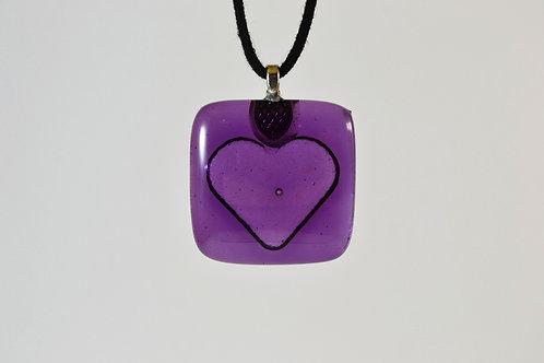 Purple Impressed Heart Necklace