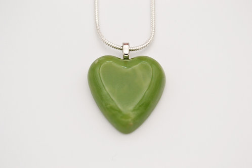 Green Solid Glass Heart Necklace