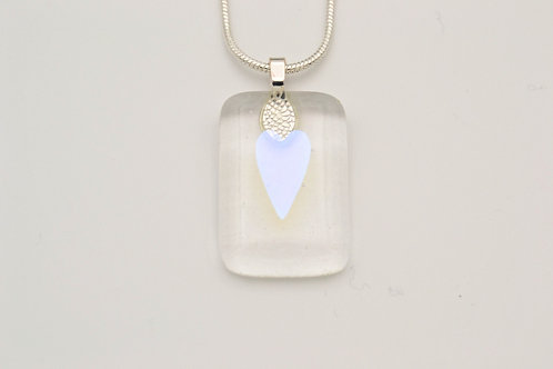 Clear Dichroic Heart Glass Necklace