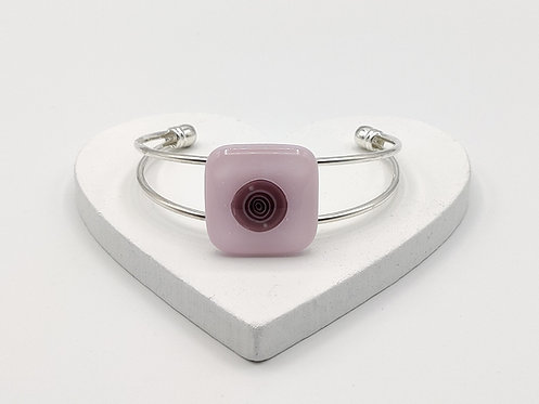 Soft Pink with Violet and White Circle Detail Bangle Bracelet