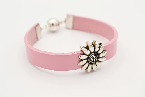 Pink Leather Bracelet with Silver Flower Design