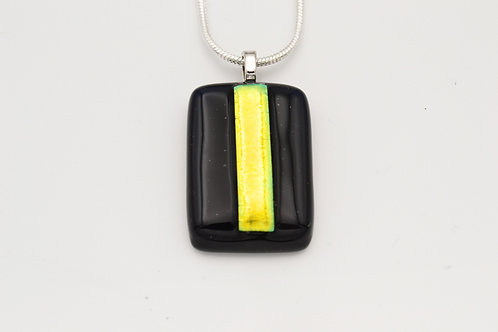 Black Dichroic Strip Glass Necklace