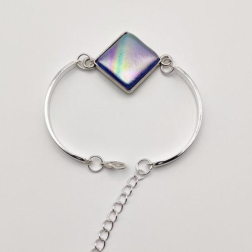Blue Square Dichroic Glass Bracelet