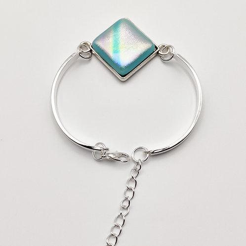 Turquoise Blue Square Dichroic Glass Bracelet