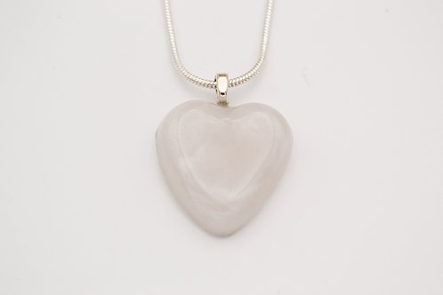 White Solid Glass Heart Necklace