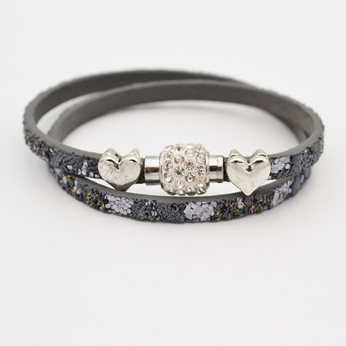 Grey Glitter Choker Bracelet