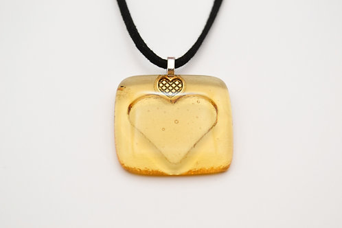Yellow Impressed Heart Glass Necklace