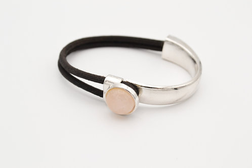 Rose Quartz Half Cuff Leather Bracelet