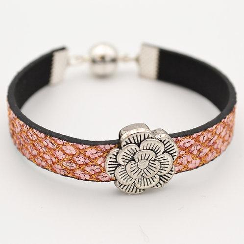 Rose Gold Glitter Bracelet with Silver Flower Design