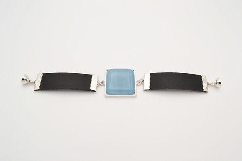 Leather Bracelet with Pale Blue Square Glass Centre