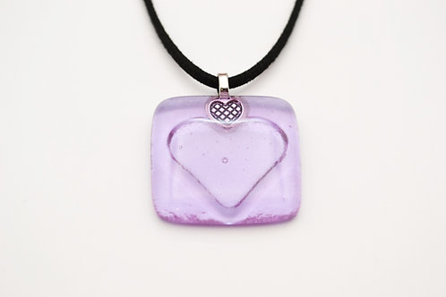 Lilac Impressed Heart Glass Necklace