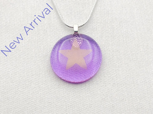 Lilac Round Glass Necklace with Gold Star Detail