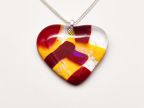 Large Red and Yellow Glass Heart Necklace