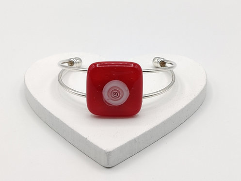 Red with White Circle Detail Bangle Bracelet