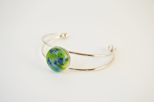Blue/Green Glass Bangle Bracelet