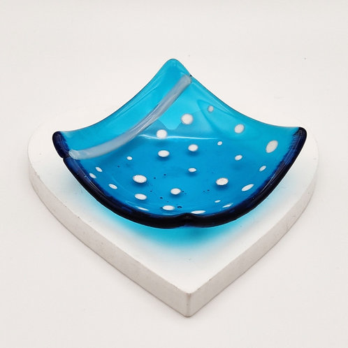 Turquoise Square Dish with White Dot Detail