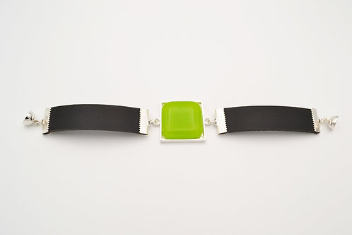 Leather Bracelet with Lime Green Square Glass Centre