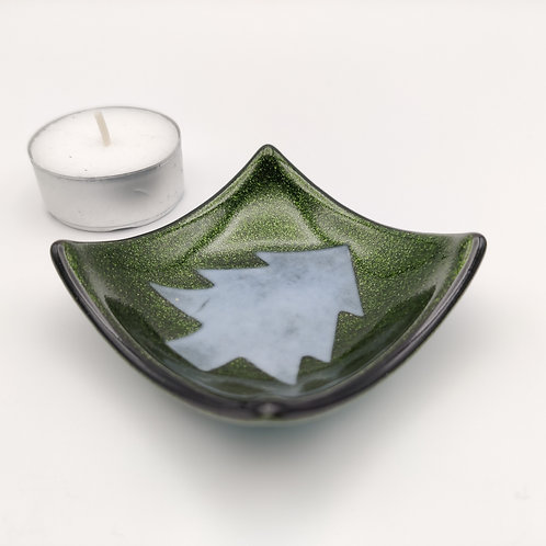 Green Square Dish with Christmas Tree Detail