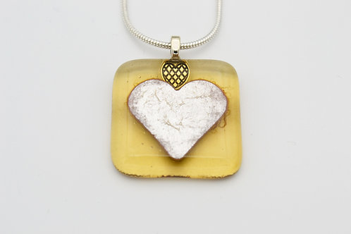 Yellow Silver Leaf Heart Glass Necklace
