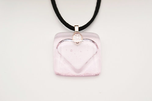 Very Pale Pink Impressed Heart Glass Necklace