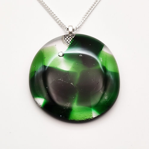 Large Light and Dark Green Glass Oval Necklace