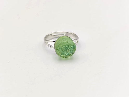 Green Glass Adjustable Ring