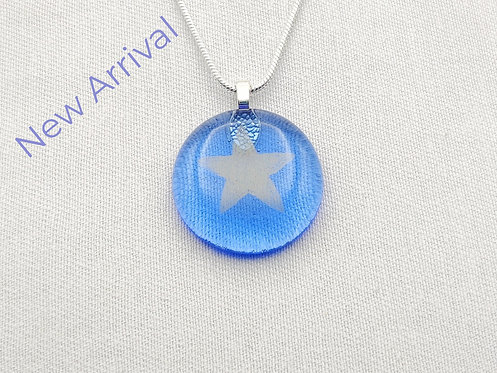 Blue Round Glass Necklace with Gold Star Detail