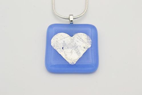Light Blue Silver Leaf Heart Glass Necklace