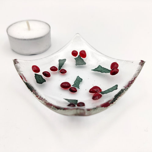 Clear Square Dish with Holly Berry Detail
