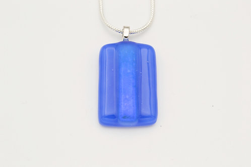 Blue Dichroic Strip Glass Necklace