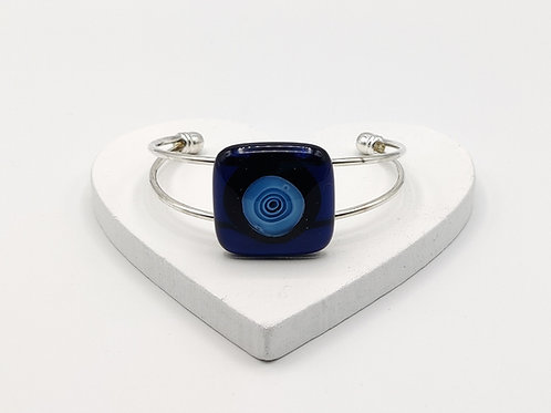 Very Dark Blue with Turquoise Circle Detail Bangle Bracelet