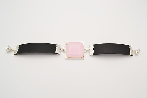 Leather Bracelet with Soft Pink Square Glass Centre
