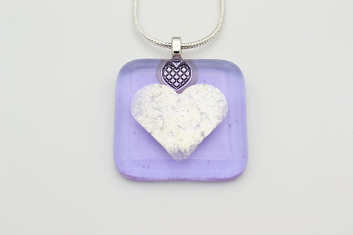 Lilac Silver Leaf Heart Glass Necklace