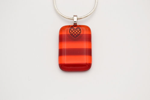 Red and Orange Striped Glass Necklace