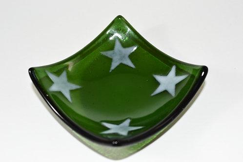 Dark Green Square Dish with White Stars