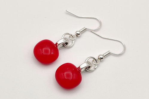 Small Red Glass Earrings