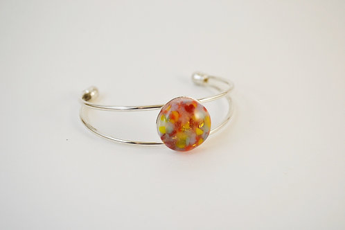 Red/Orange Glass Bangle Bracelet