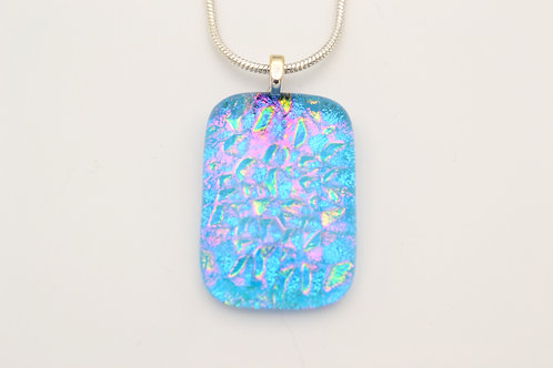 Turquoise Dichroic Glass Necklace