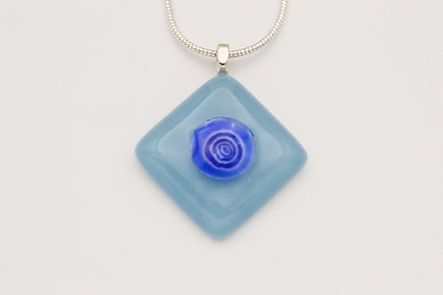 Light Blue Glass Necklace with Dark Blue Centre