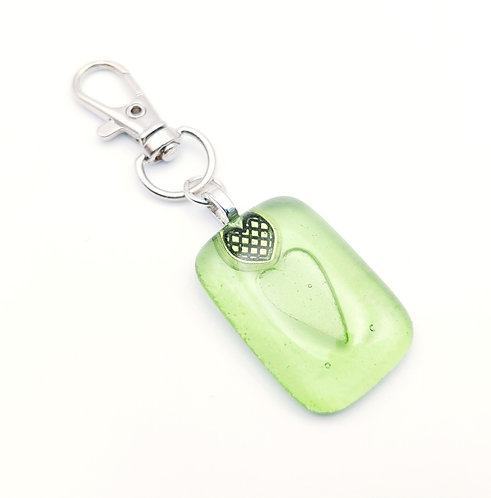 Green Heart Embossed Handbag Charm/Keyring