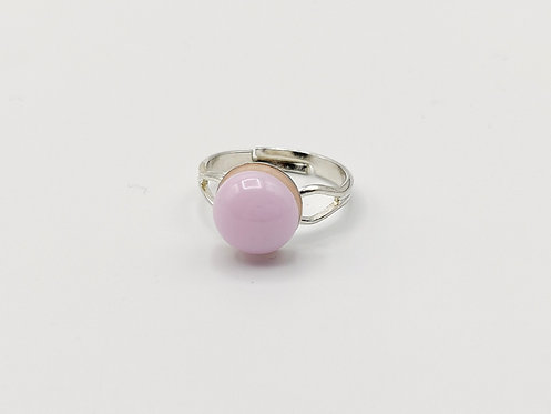 Soft Pink Opalescent Glass Adjustable Ring