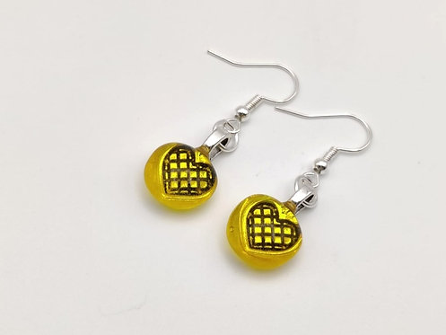 Yellow/Gold Transparent Glass Earrings