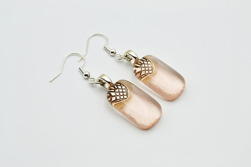 Pale Coral Glass Earrings