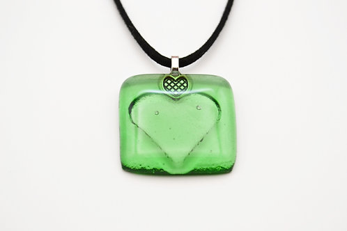 Green Impressed Heart Glass Necklace