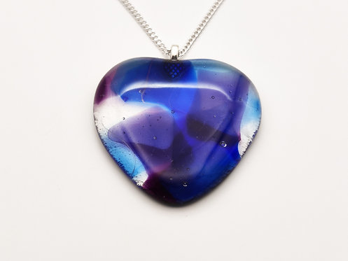 Large Blue and Purple Glass Heart Necklace