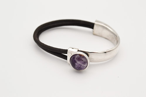 Amethyst Half Cuff Leather Bracelet