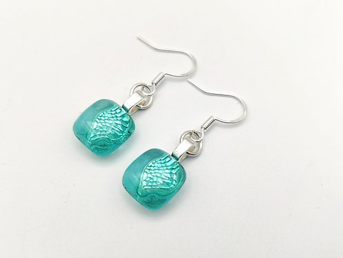 Small Marine Green Transparent Glass Earrings
