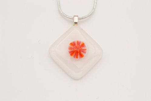 White Glass Necklace with Orange Centre