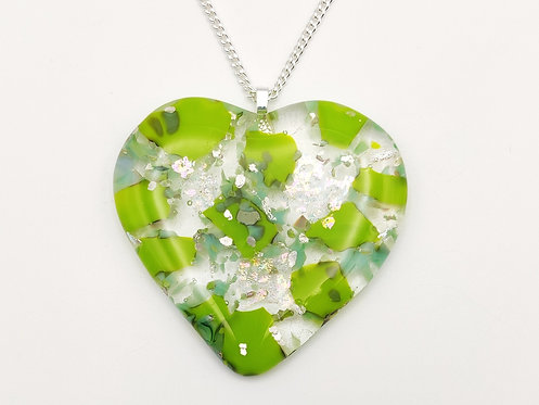 Large Apple Green Glass Heart Necklace