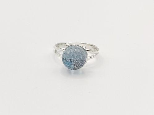 Pale Indigo/Grey Transparent Glass Adjustable Ring